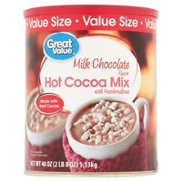 Great Value Milk Chocolate Hot Cocoa Mix w Marshmallows, 40 oz, 2.5 lb (1.13 Kg)