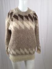 EIDER KNIT ICELAND Medium Wool Cream & Browns Nordic Sweater Vintage EUC