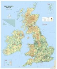 More details for large british isles uk physical wall map poster laminated - 120 x 100 cms