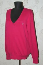 GANT womens pink 100% cotton V-neck jumper sweater Size XL