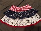 Baby Girl Ruffled Tiered Patriotic Skirt Skort, Stars, Sripes, Size 2T