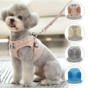 Soft Mesh Fabric Dog Cat Puppy Pet Adjustable Harness Collar Breathable Leads