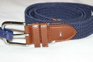 Tommy Hilfiger Men's Brown Navy Web Casual Belt NWT $45 Size Small 28-30