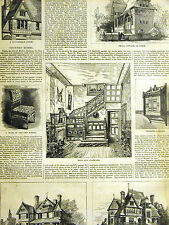 Country Homes QUEEN ANNE and TILE COTTAGE INTERIOR 1878 Print Matted and Story