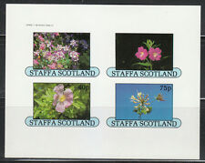 Souvenir sheet of 4 MNH Imperf stamps Staffa Scotland FLOWERS **