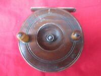 Antique Brass Star Back Center Pin Fishing Reel Brass Wooden 3""