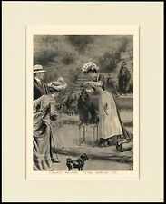 POODLE EDWARDIAN LADY GROOMING DOG AT SHOW CHARMING PRINT MOUNTED READY TO FRAME