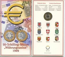 """GN286 - Österreich 50 Schilling 1999 """"Währungsunion"""" im Original Blister KM#3057"""