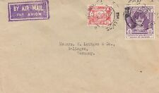 Burma : 1954 mixed currency frankied envelope to Germany