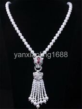 """natural 8-9mm White cultured Freshwater Pearl Necklace Cz leopard clasp 25"""""""