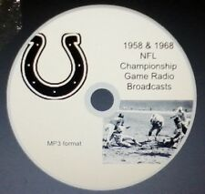 1958 & 1968 Baltimore Colts NFL Championshp Game radio broadcasts in MP3 Format