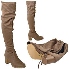 Women Over the Knee High Boots w/ Drawstring Top Block Heel Taupe