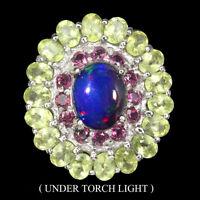 Oval Black Opal 10x8mm Peridot Rhodolite Garnet 925 Sterling Silver Ring Size 7