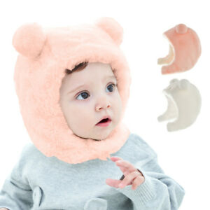 Fleece Baby Hat with Bear Ears Winter Children Ear Protection Head Cover Hat
