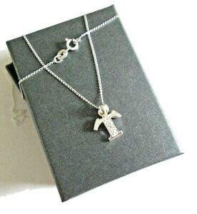 Stirling silver Initial *T* Pendant Necklace  *in a gift box*