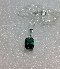 Sterling Silver Emerald Cut Natural Dark Green Amethyst Pendant necklace 1.95CT