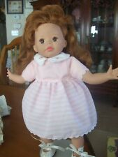 "Susan Wakeen 12"" DOLL IN PINK & WHITE DRESS WITH AUBURN HAIR & BROWN EYES"
