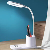 Gooseneck Folding LED Desk Lamp Light with Wireless Charger for Home Office