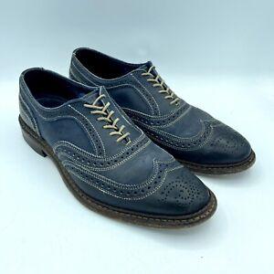 Allen Edmonds Neumok Blue Leather Brogue Wingtip Oxfords VIBRAM sz 9.5 D Mens US
