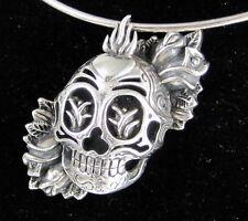 CHRISTIAN AUDIGER Estate Huge Sterling Silver Flaming Skull 3 D Choker Necklace