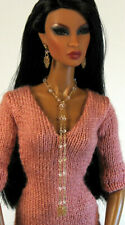 "14K GF Crystal Lariat Jewelry Set for 12"" Fashion Dolls Barbie, FR & More"