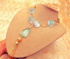 24K GOLD Brass Aqua Blue Quartz Stone Tassel Pendant Necklace FREE SHIPPING