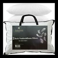 Luxury Duck Feather Pillows - Hotel Quality - Extra Filling - Firm Support