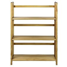 "Natural 3 Shelf Shelves Library Home Books Storage Stackable Bookcase 27.5"" Wide"