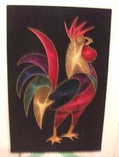Magnifique tableau à fils tendus et clous représentant coq années 70 seventies