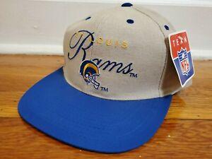 NEW Vintage St Louis Rams 1996 Strap Back Team NFL Hat Cap NOS Khaki Blue