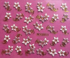 Nail Art 3D Decal Stickers Flowers White & Pink Gold or Silver Accents BLE331J