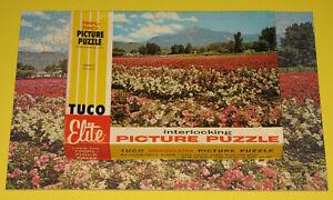 "VINTAGE TUCO ELITE INTERLOCKING PICTURE PUZZLE JIGSAW ""PETUNIAS"" FLOWERS MTS CIB"