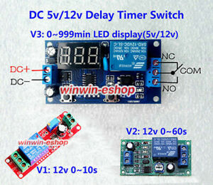 DC5V 12V Adjustable NE555 Delay Timer Time Relay Switch Relay Module LED Display