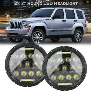 """7"""" Inch Round LED Headlight Hi/Low Beam Halo Projector For Jeep Patriot Liberty"""