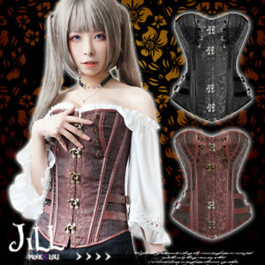 goth visual victorian steampunk toggle buckle brocade overbust corset【J2W210008】