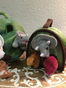 UNIPAK Lot Of 6 Stuffed Animal Variety Dinosaurs Toys + 2 Plush Carrying Cases