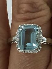 14KT WHITE GOLD 3.02 CTW GENUINE AQUAMARINE & DIAMOND RING SIZE 7