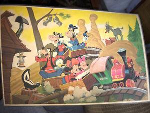 Vintage 1960's Disneyland Plastic Place mat Park Map Mickey Minnie Donald Goofy