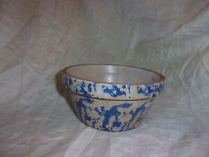 Antique Blue Spongeware Small Crock/Bowl