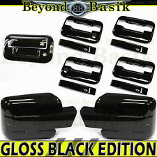2009-2014 F150 Crew GLOSS BLACK Door Handle Covers wPK noKP+Mirrors+Tailgate