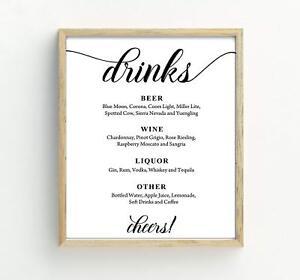 Custom Text Bar Menu Sign, Drinks Bar Menu Signage Custom Party Print-DS-JSP32