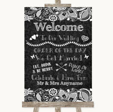 Wedding Sign Poster Print Dark Grey Burlap & Lace Welcome Order Of The Day