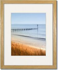 Coastal Wood Light Natural Picture Frames with Clear Glass and Single White Mat