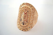 Gold Tone Ornate Cartouche Style Carved Patterned  Statement Ring Size V