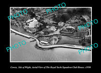 OLD POSTCARD SIZE PHOTO COWES ISLE OR WIGHT AERIAL VIEW YACHT SQUADRON c1950