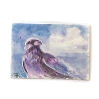 ACEO Raven painting bird art original wildlife listed by artist American Ettina