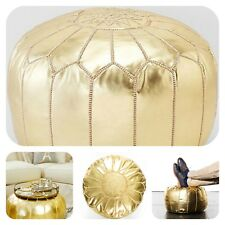 GOLD  MOROCCAN POUF FAUX LEATHER POUFFE HANDMADE OTTOMAN HOME DECOR FOOTSTOOL