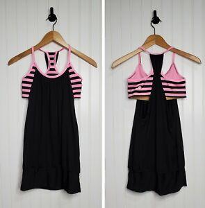 Lululemon No Limits Black /Pink Stripe Tank Top w/ Built in Sports Bra Size 4