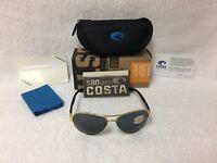 NEW Costa Del Mar South Point Polarized Sunglasses Gold Gray 580P SO 26 OGP 580