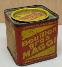 Ancien Boite publicitaire en tole vide Bouillon Gras MAGGI 20 étuis